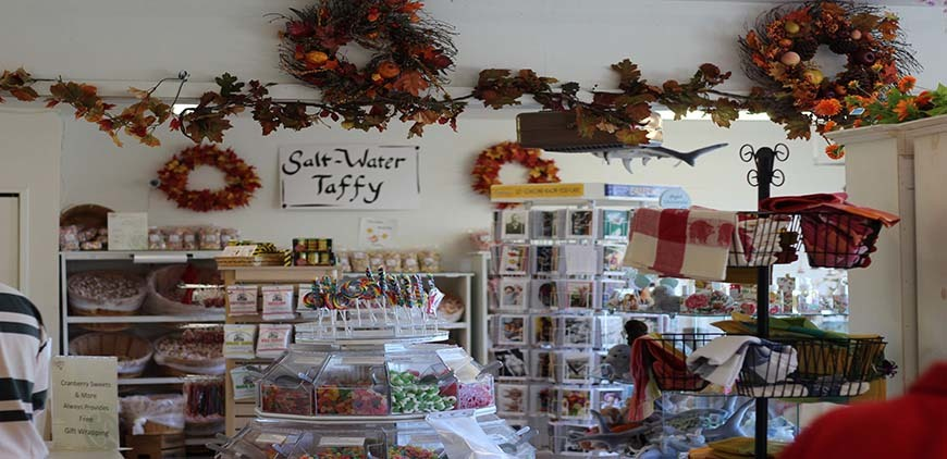 Inside a gift shop store