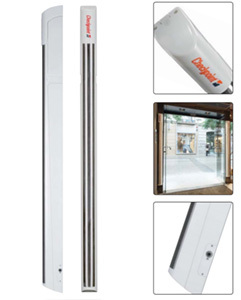 Close up image of Evolve S10 and how it looks placed on top of a store door.