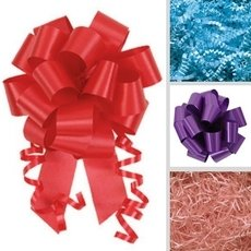 Purple, red, blue, pink and other colors from our selection of bows and ribbon.