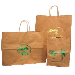 Hot Stamped or Post Printed Recycled Natural Kraft Shopping Bags