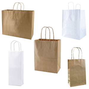 White & Brown Kraft Paper Bags