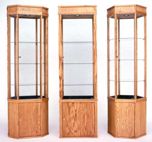 Wood Tower Display Cases