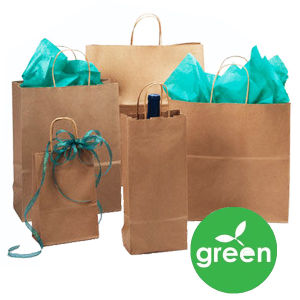Recycled Natural Kraft Paper Shopping Bags