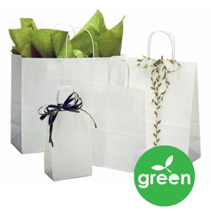 Recycled White Kraft Paper Shopping Bags