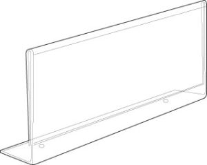 Acrylic Sign Holders Special with Holes to Attach to Shelves; etc