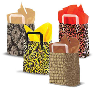 Frosted Animal Print Shoppers with Tri Fold Handles